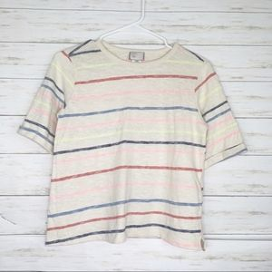 Anthropologie Postmark Cream Colorful Striped Tee
